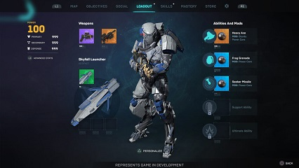 Anthem NEXT Loadout UI screen