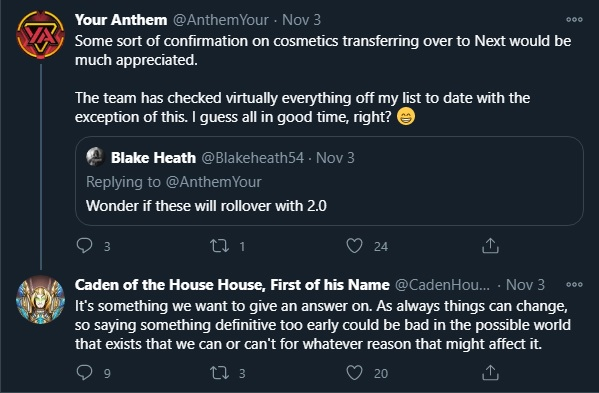 Caden confirming BioWare wants to transfer Anthem cosmetics to Anthem 2.0