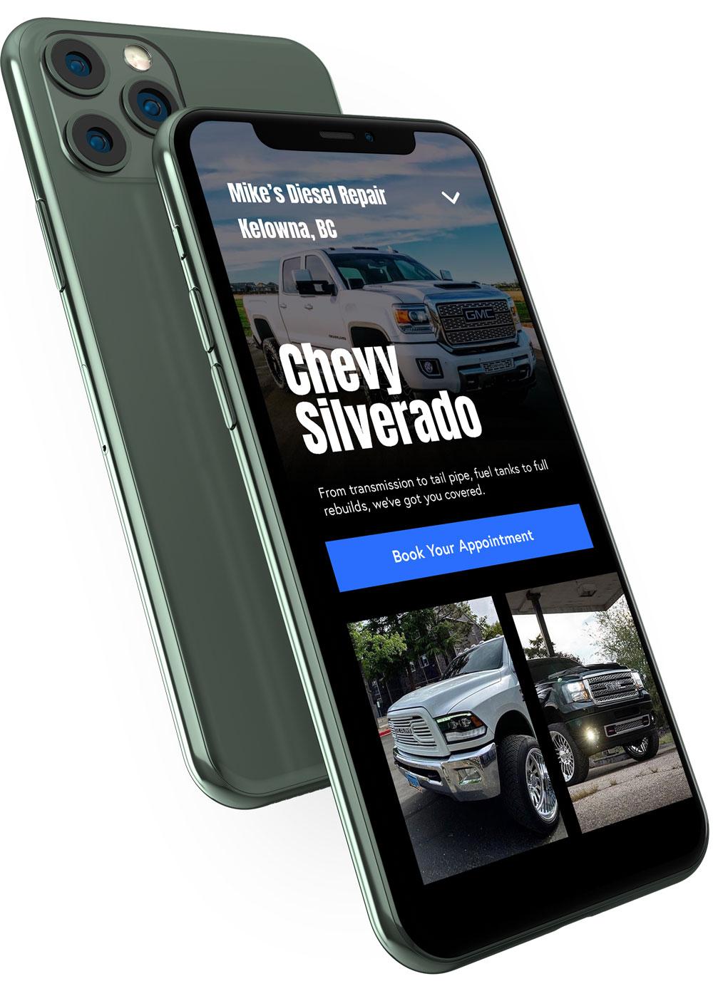 Premium, responsive Dieselmatic website displayed on iPhone