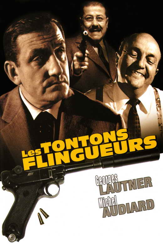 Poster of the movie Les Tontons Flingueurs with portrays of actors Lino Ventura, Francis Blanche and Bernard Blier.