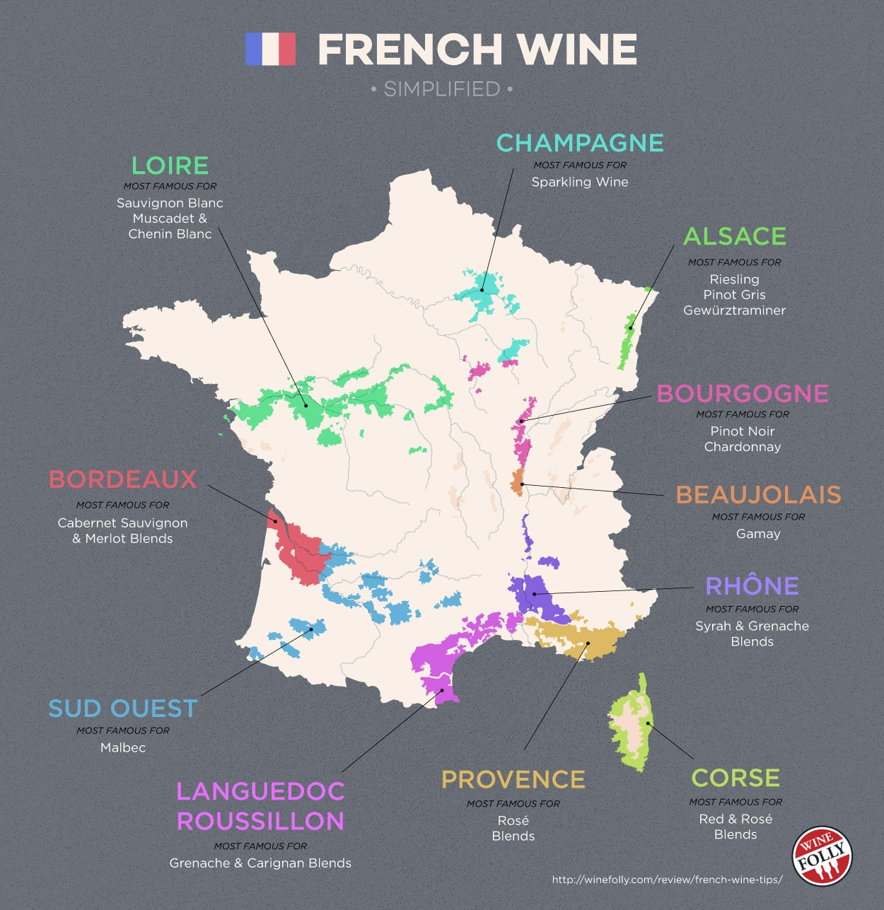 Map of French wines regions, highlighting areas like Champagne, Bourgogne, Beaujolais, Bordeaux, etc.