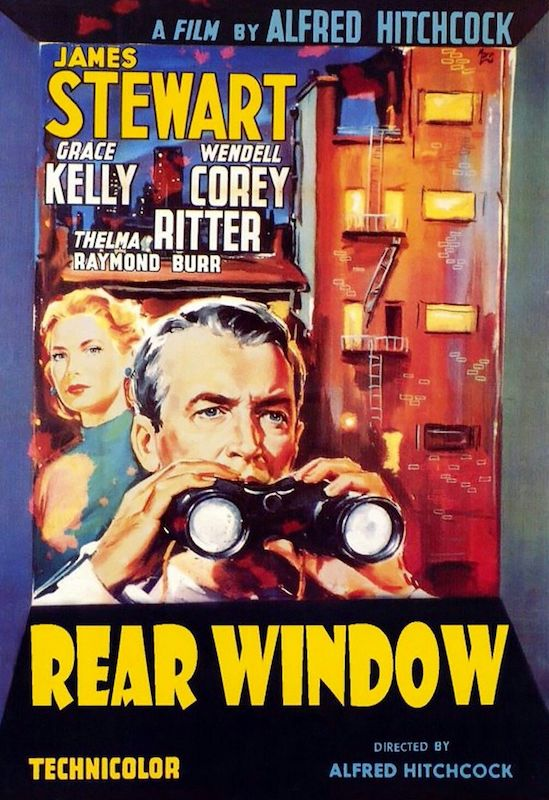 Poster of the movie Rear Window with Grace Kelly and James Stewart holding binoculars, with a typical old NYC building with with fire escape ladders in the background.