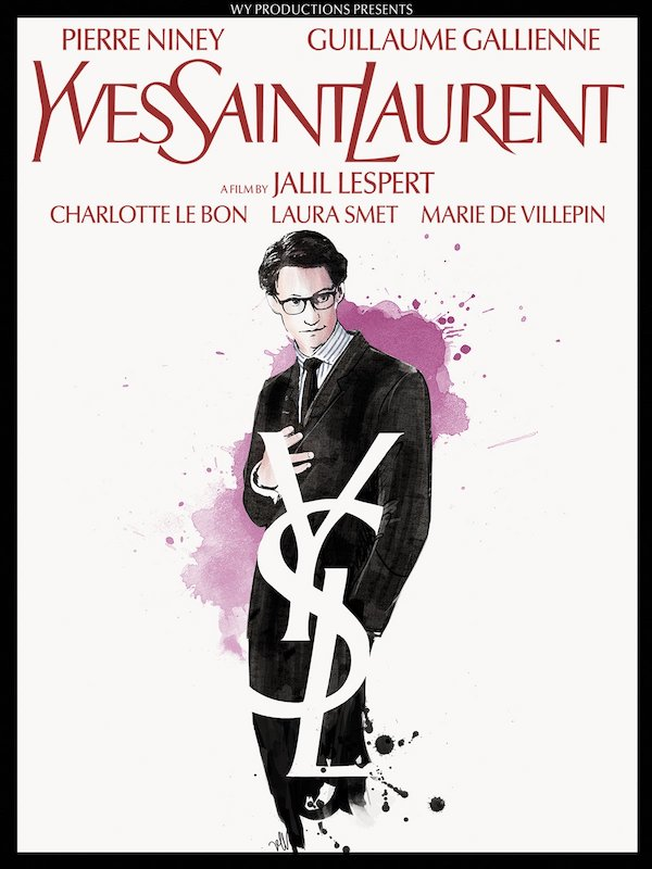 Poster of the movie Yves Saint Laurent with a full lengh drawing portrait depicting the designer played by French actor Pierre Niney.