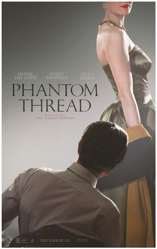 Poster of the movie Phantom Thread with the silhouette of Daniel Day-Lewis sitting in the shadow and the silhouette of Vicky Krieps wearing a Dior's dress.