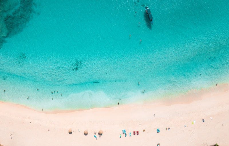 Aerial photography of a tropical sandy beach and turquoise water.