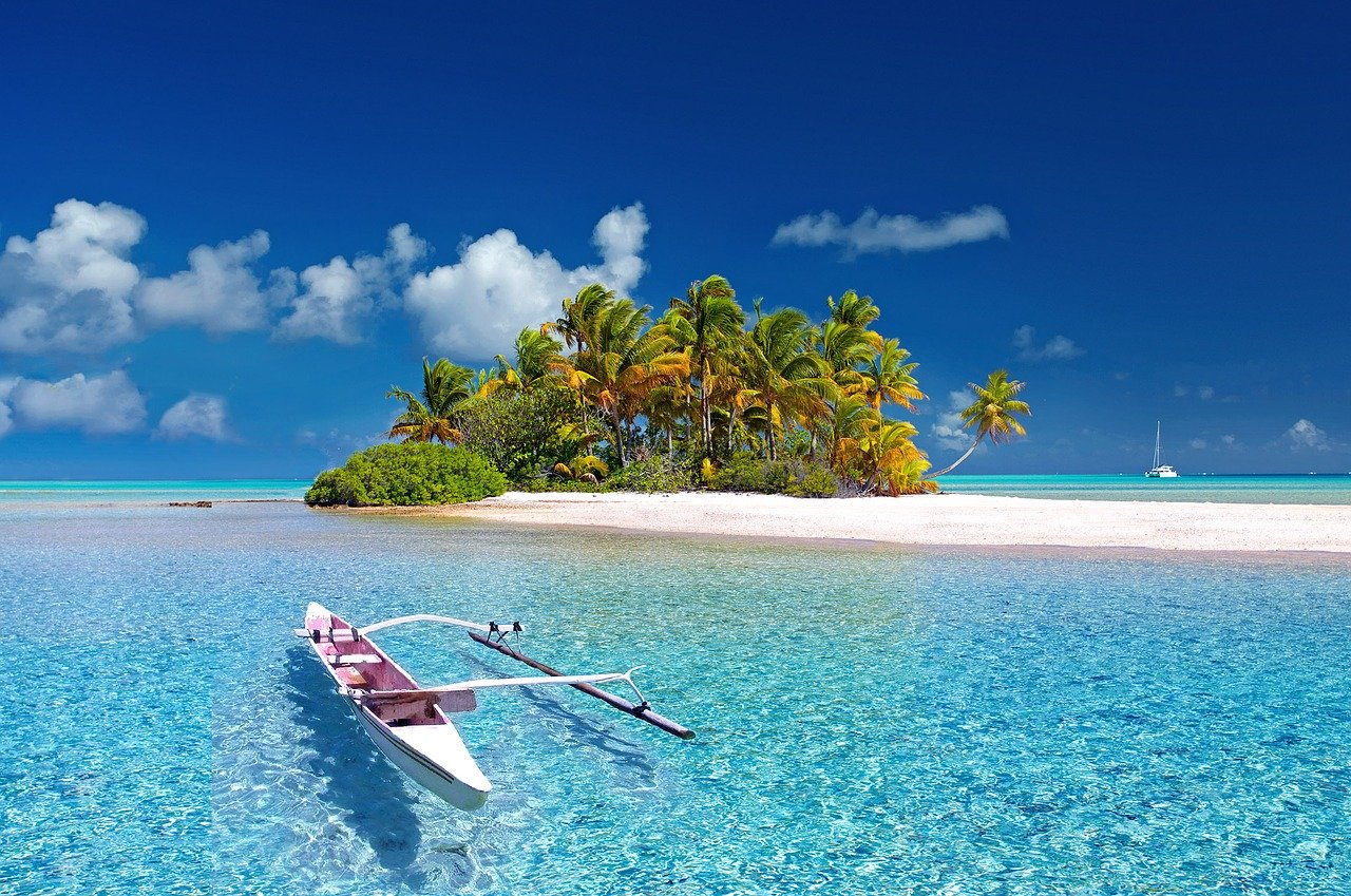 View of a pirogue floating on turquoise water along a sandy beach with Palm trees.