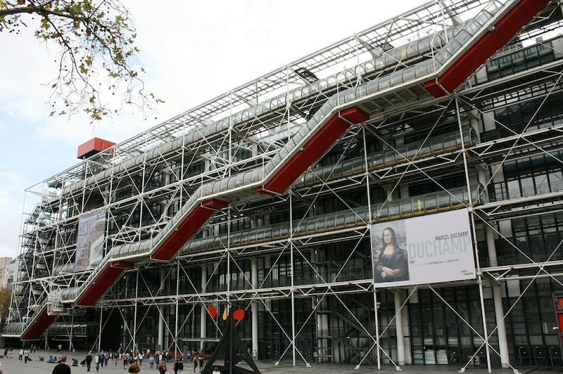 View of the exterior facade of the Centre Pompidou with its colourful and unique exterior escalator