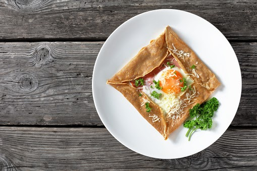 Galette Bretonne with eggs, ham, and cheese.