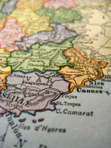 A close-up at a French Riviera map