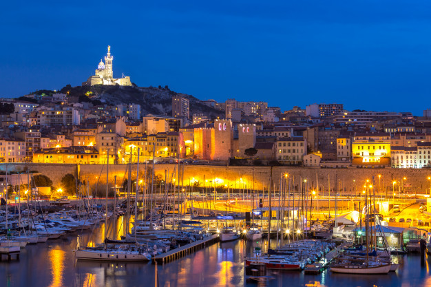 nighttime view of the Marseille harbour