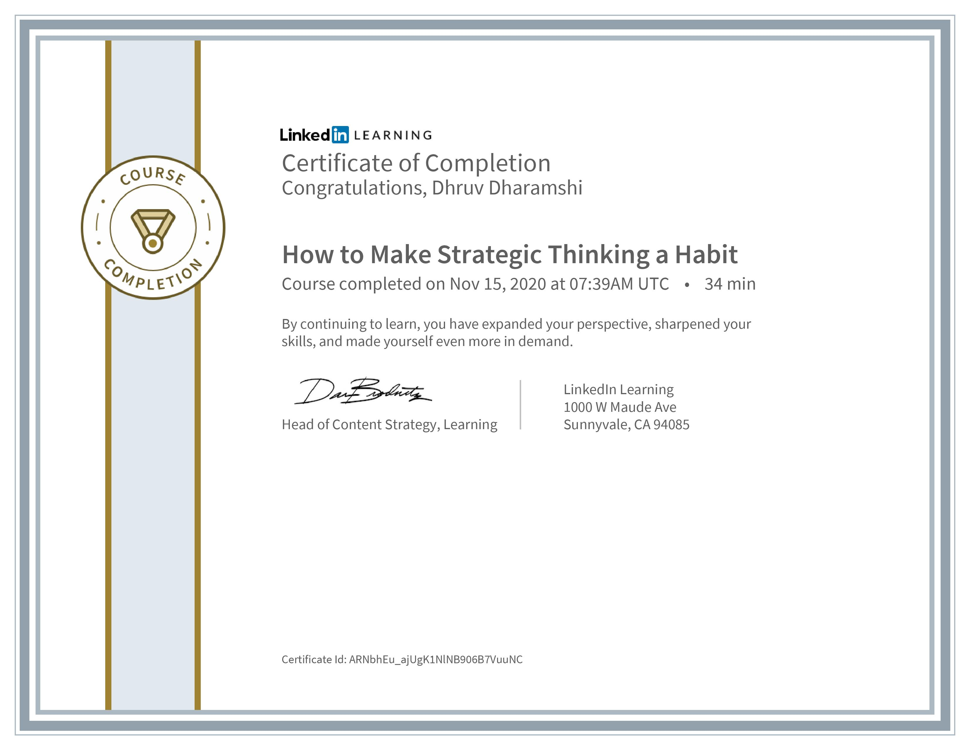 How to Make Strategic Thinking a Habit