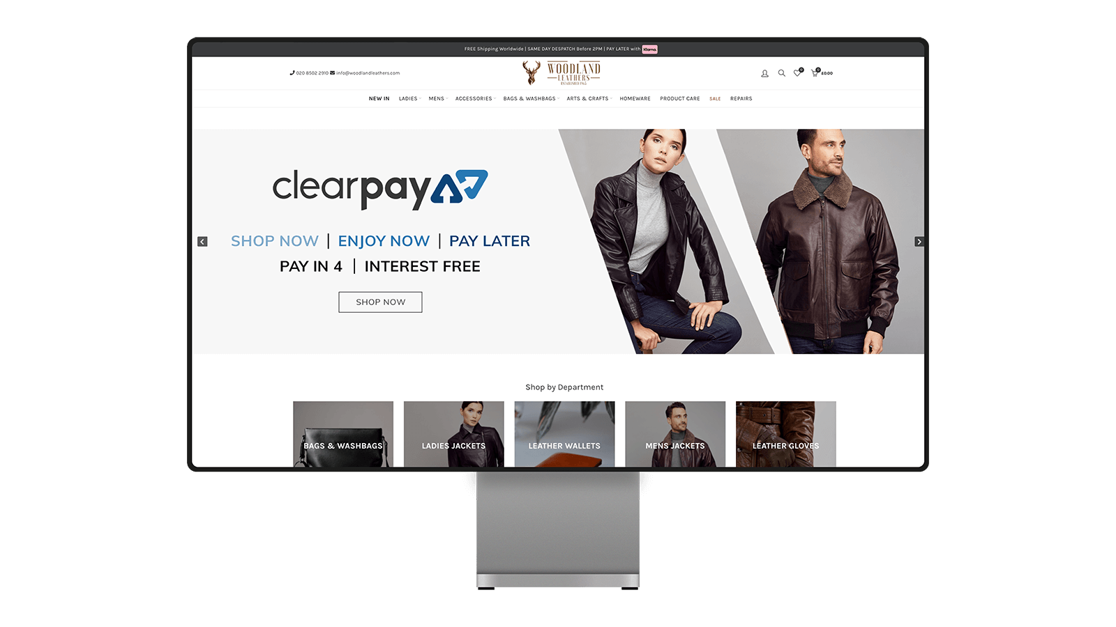 Woodland Leathers Transparent Ecommerce Website Mockup Everview Media