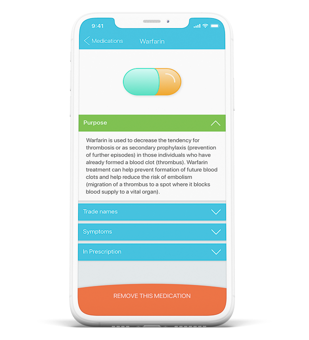 Laymens terms medication information mobile application screen