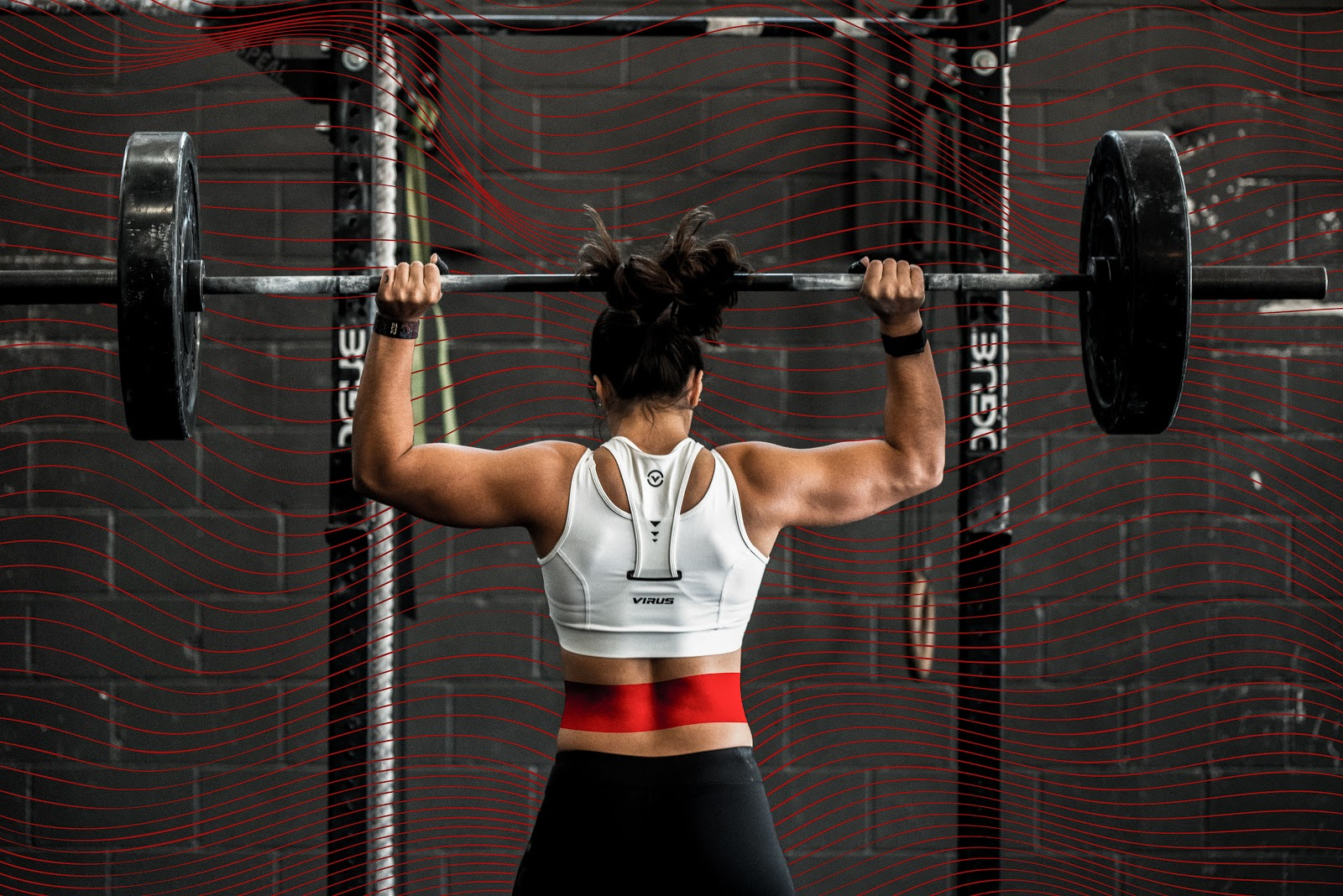 A person doing overhead press