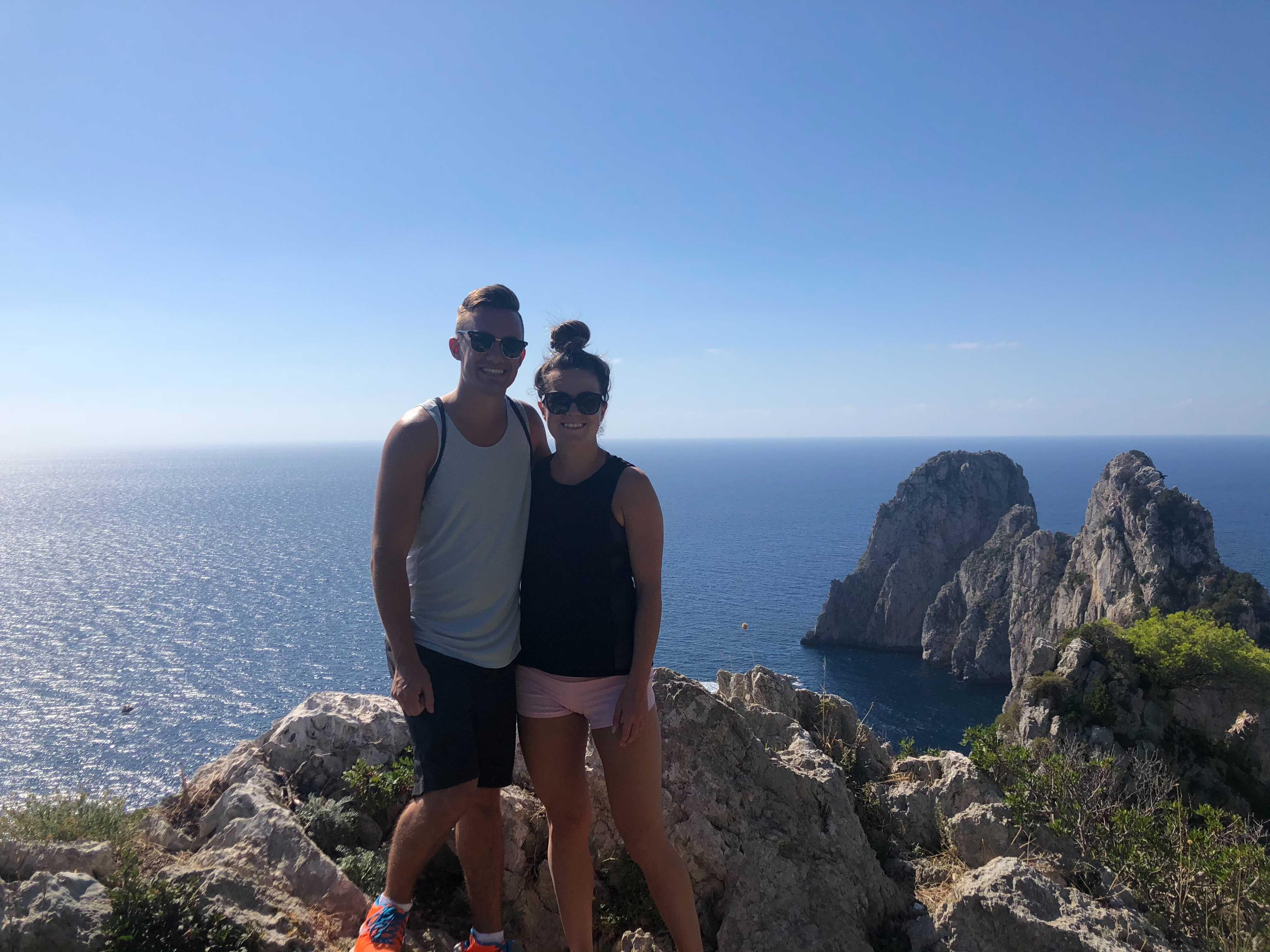 Shanda and Kendall hiking in Capri!