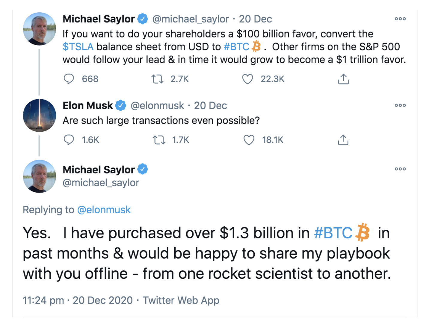 Saylor and Musk's Twitter exchange in late December 2020