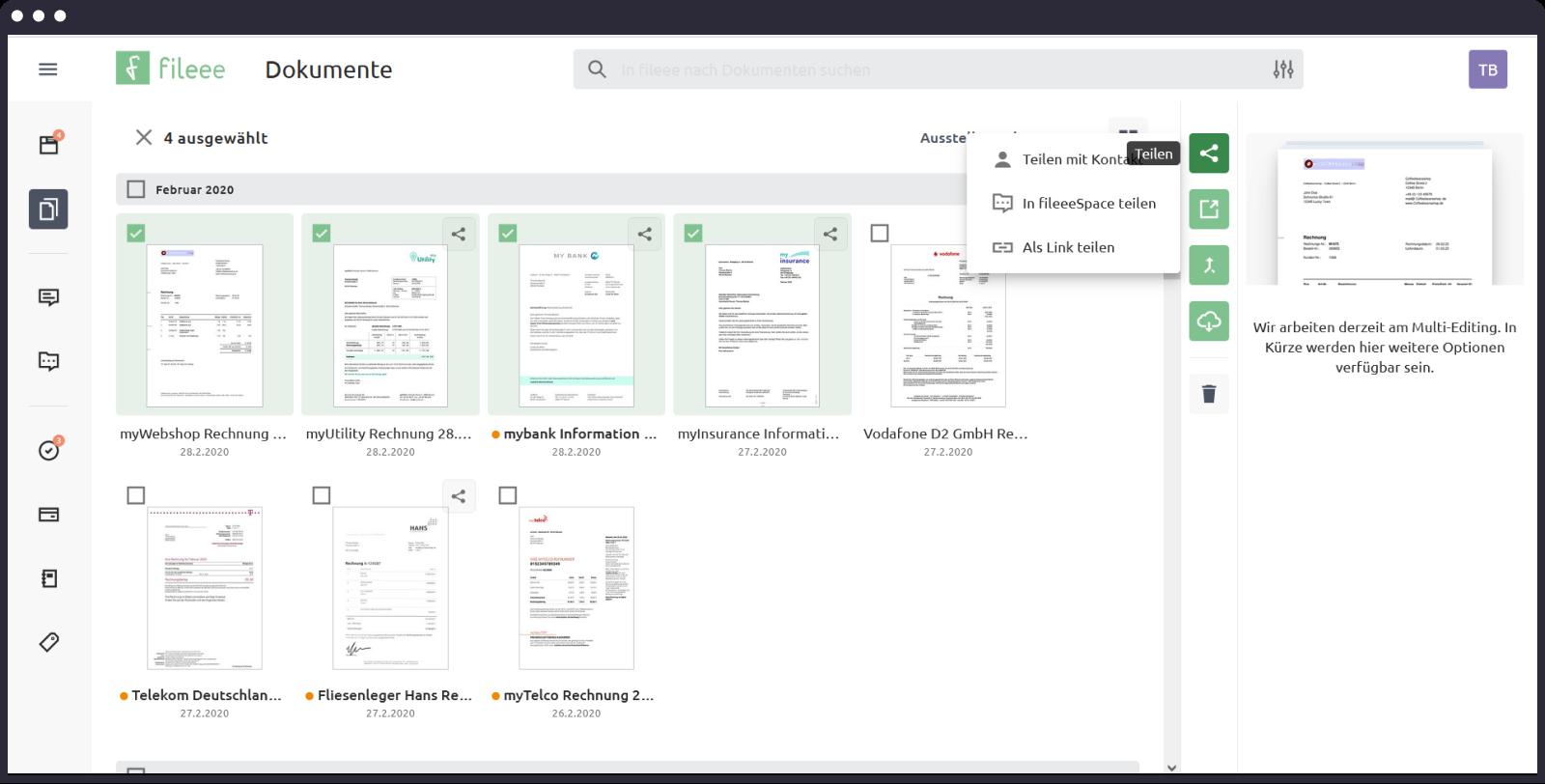Dokumente teilen und Freigabe von Dateien in fileee schnell und einfach mit dem neuen Teilen-Prozess.