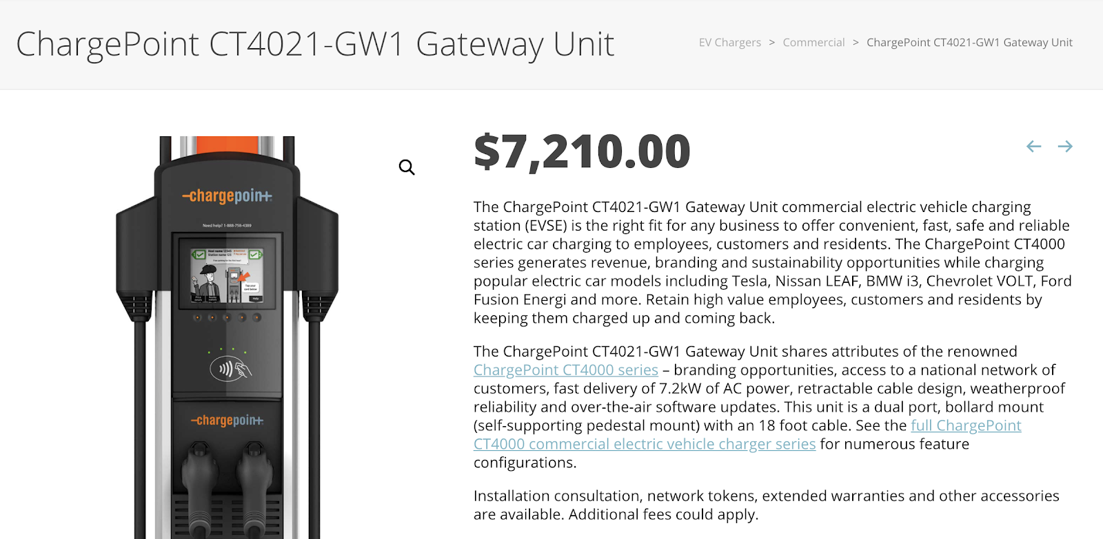 Chargepoint gateway unit price
