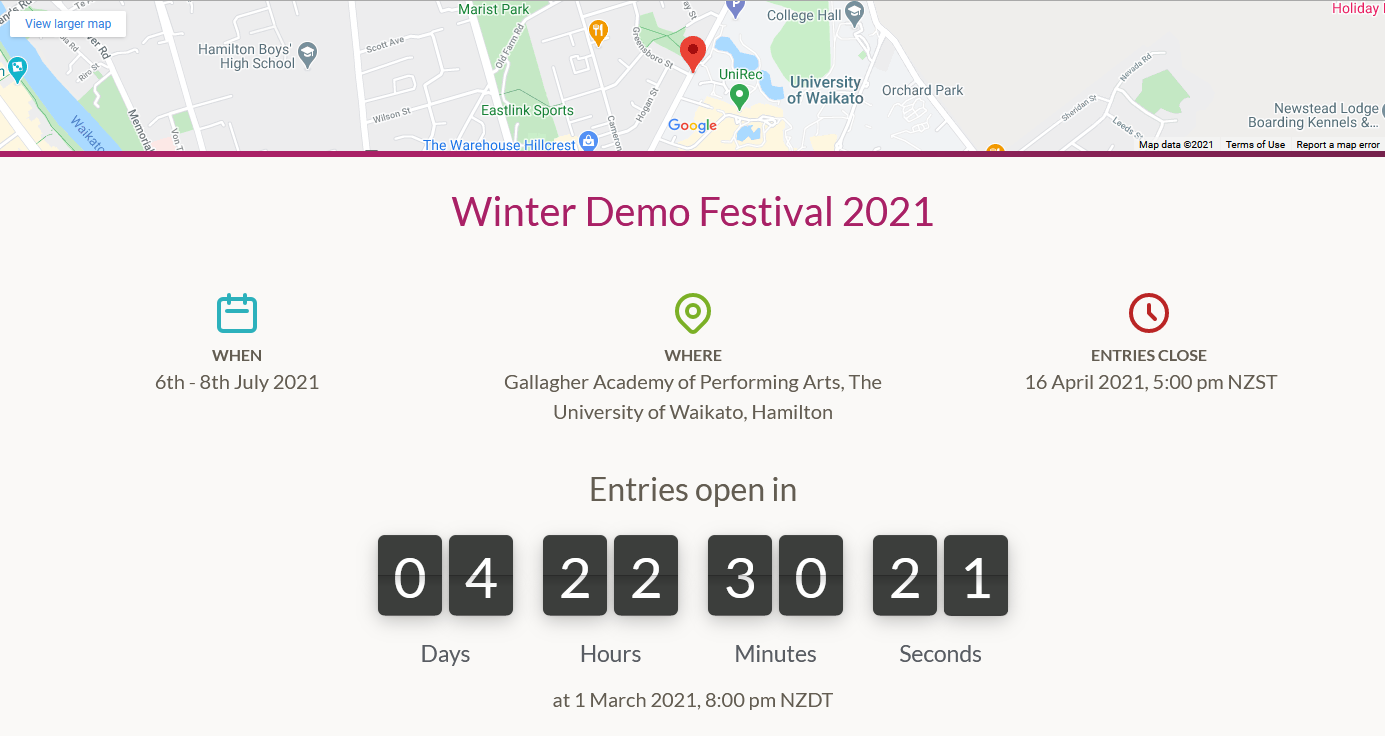 Screenshot of a competition landing page with entries open countdown