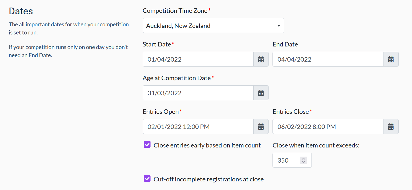 Competition dates showing close entries with cut-off
