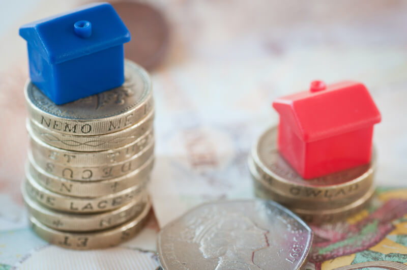 Cash House Buyers - image of coins and monopoly houses
