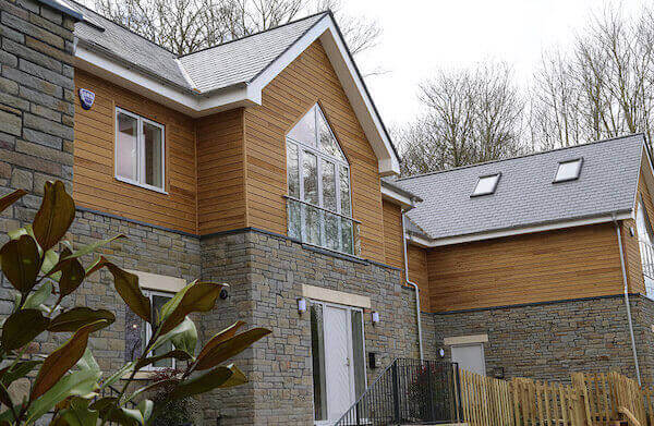 Exterior wooden cladding on house