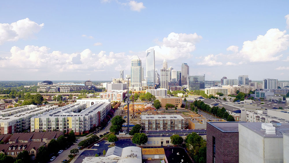 Charlotte skyline, viewed from Slalom's office in South End