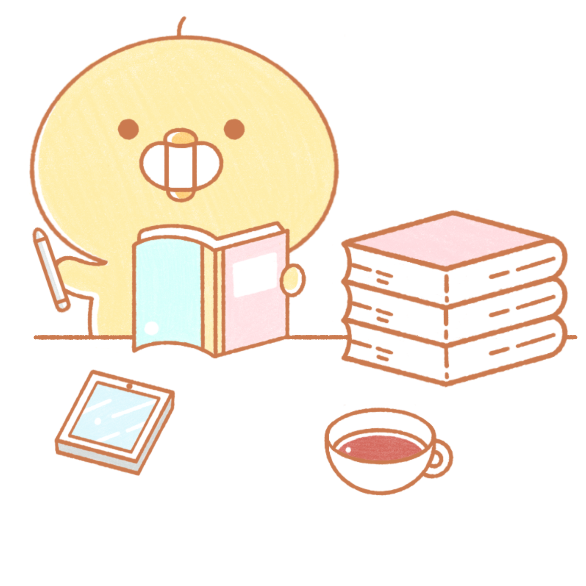 chikkie smiling with books