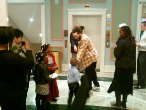 Savion Glover with young hoofers and fans