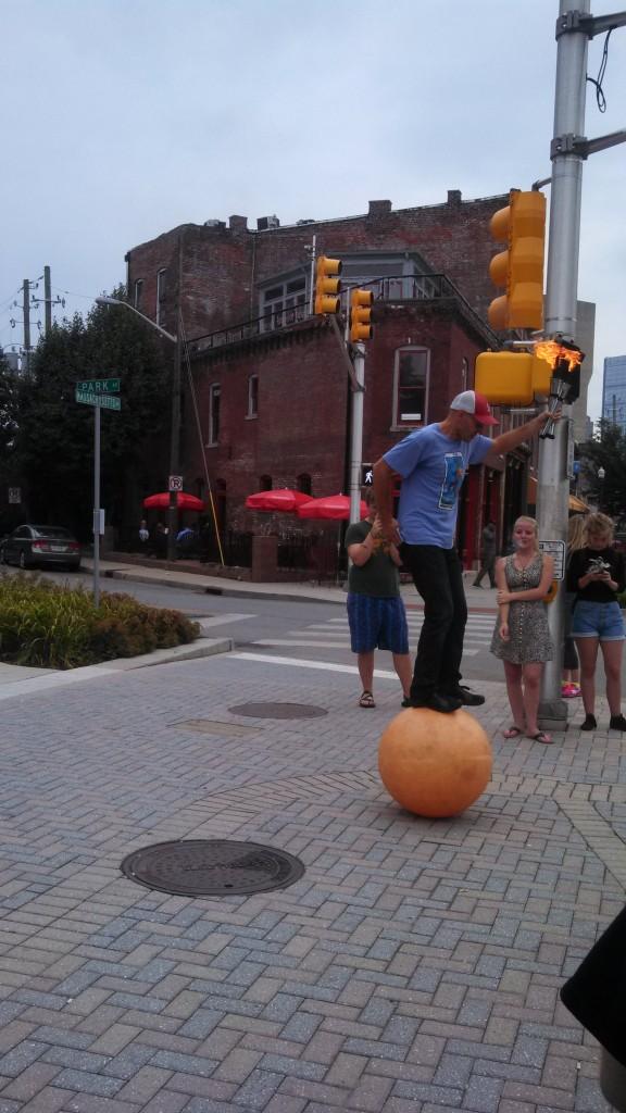 Juggling with fire and balancing on a ball - 5