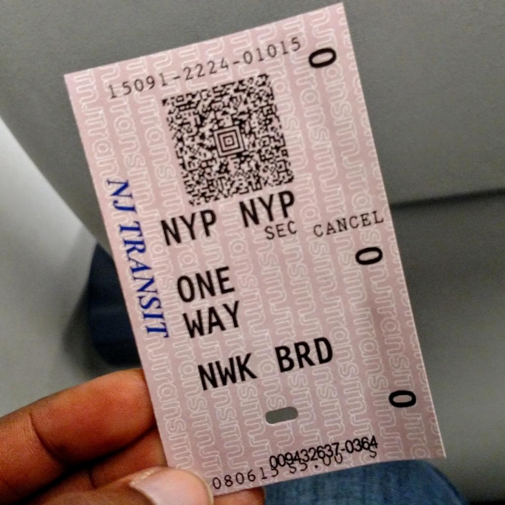 Ticket from Newark to NY