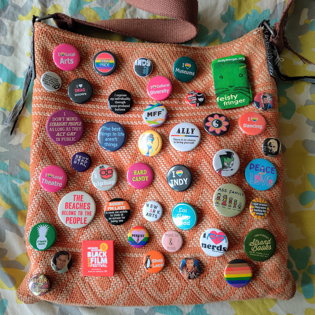 My Hippie Bag covered in buttons