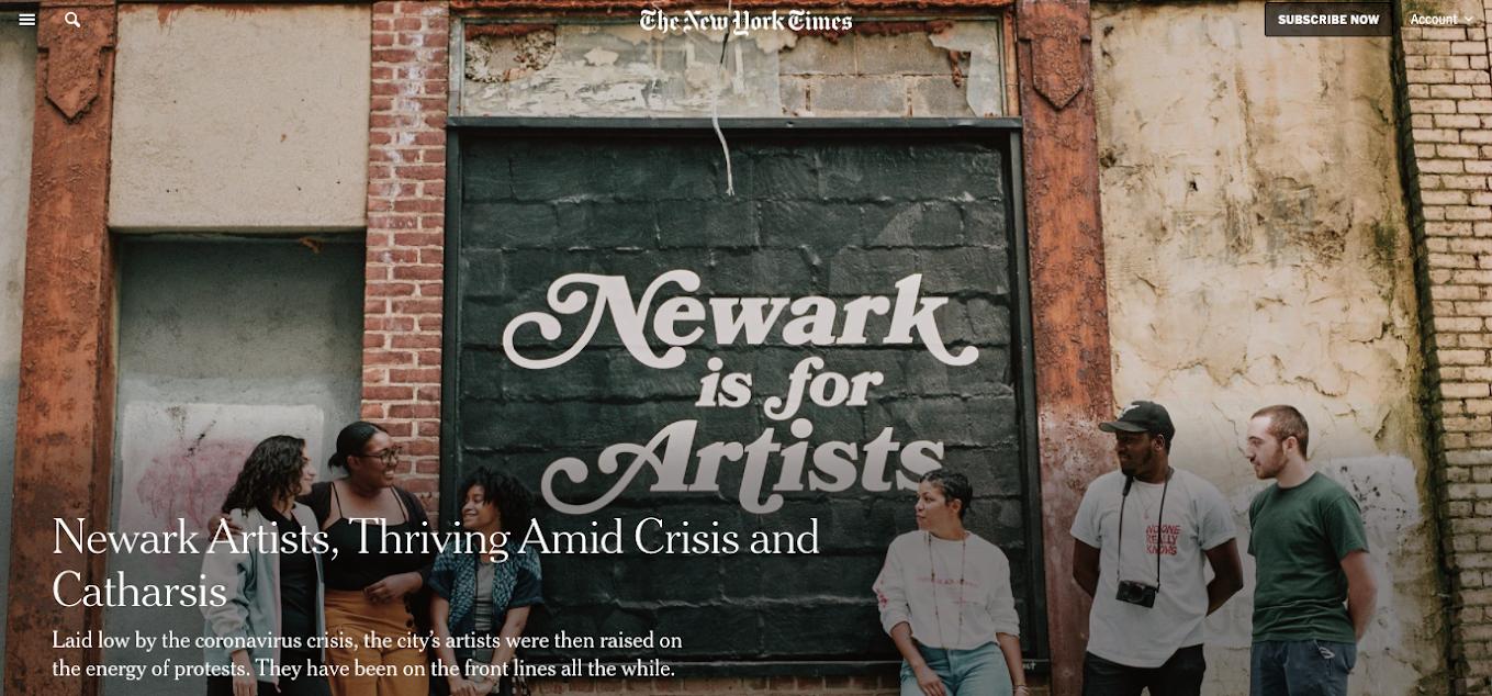 NYT Arts header on story about Newark's arts scene
