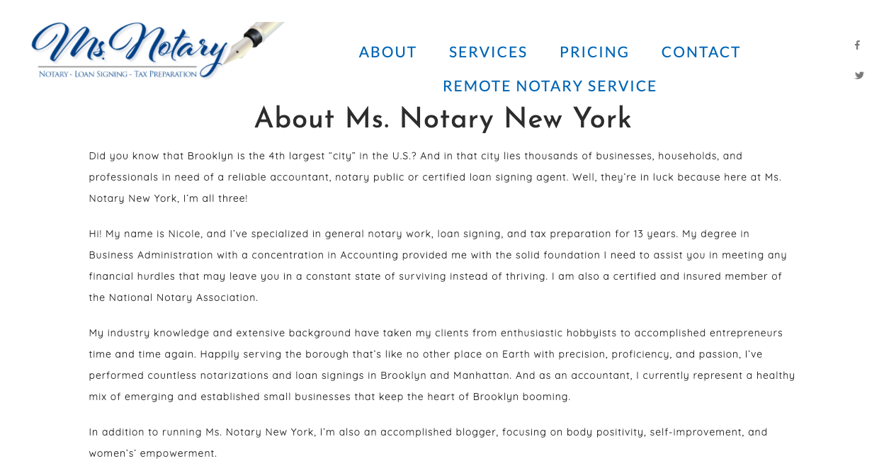 About page on Ms. Notary NY