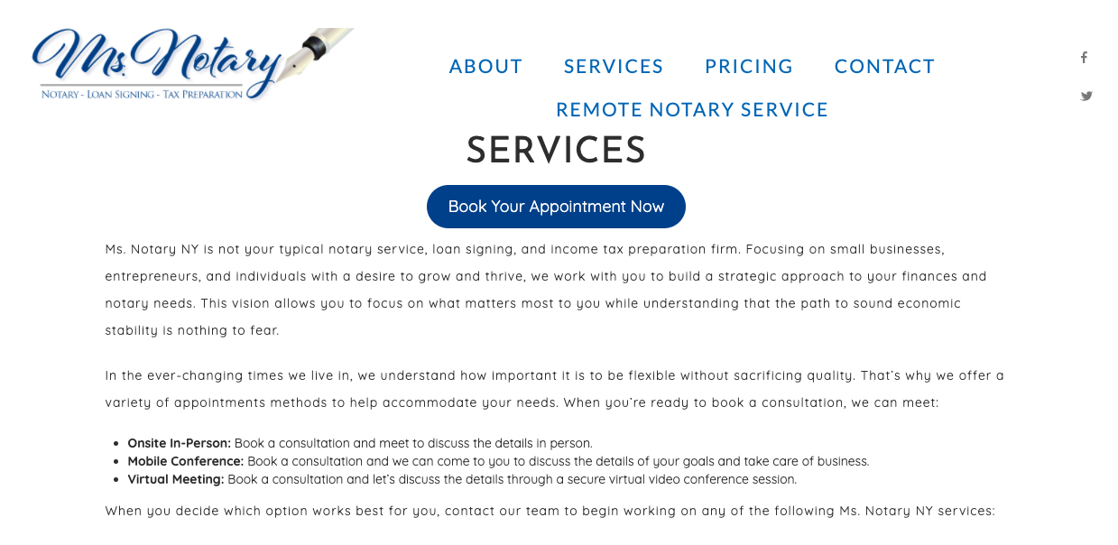 General Services page on Ms. Notary NY