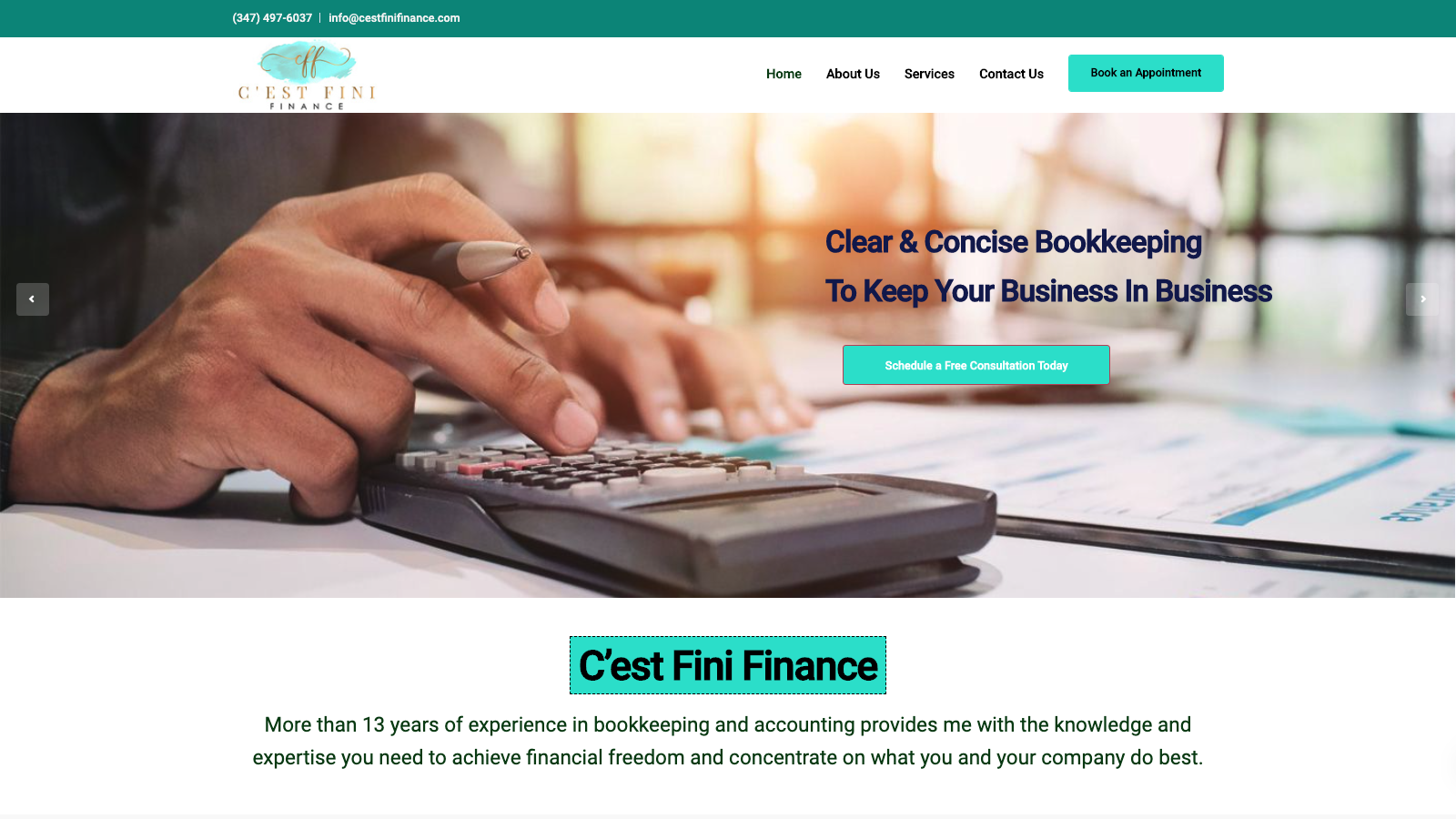 C'est Fini Finance Website Copywriting Project