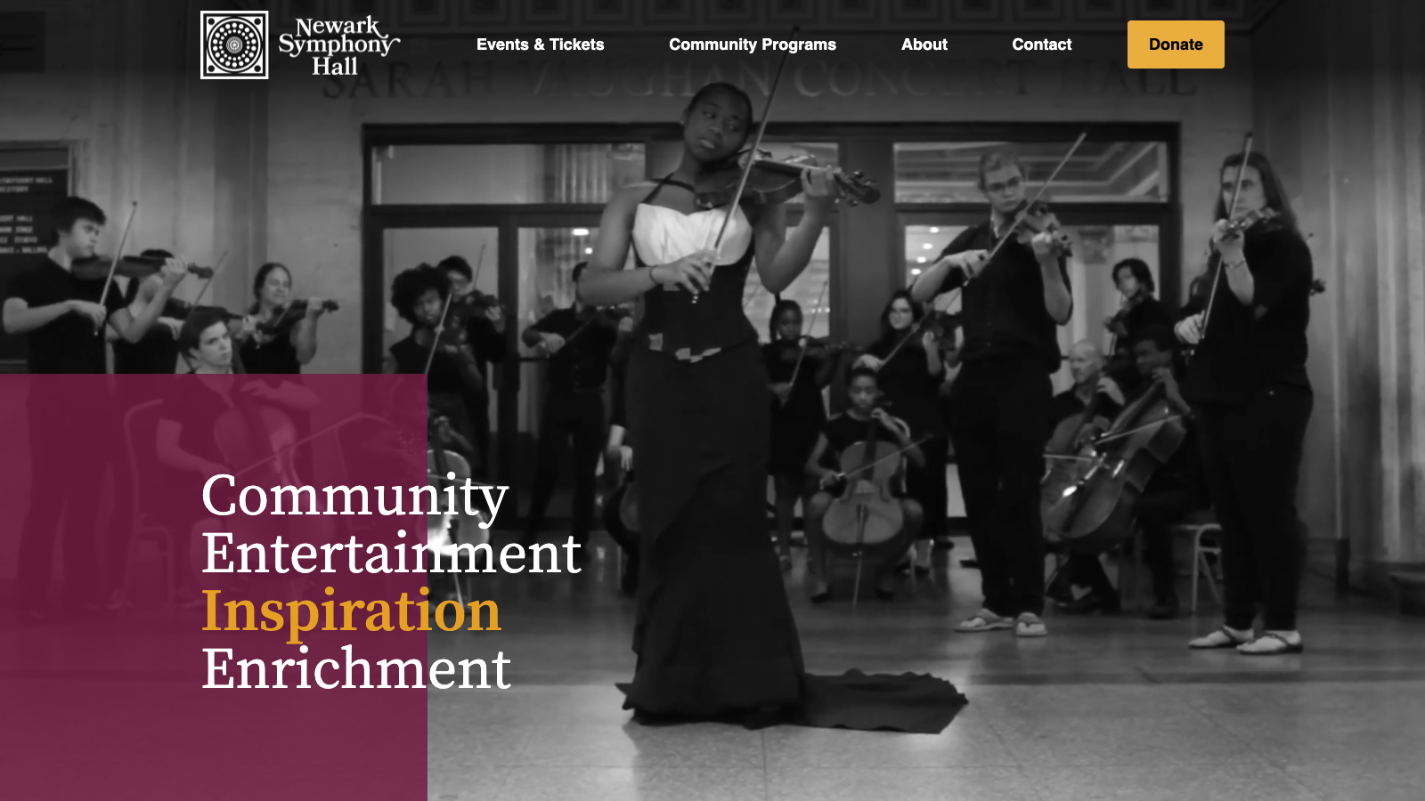Newark Symphony Hall Website Content Writing Project