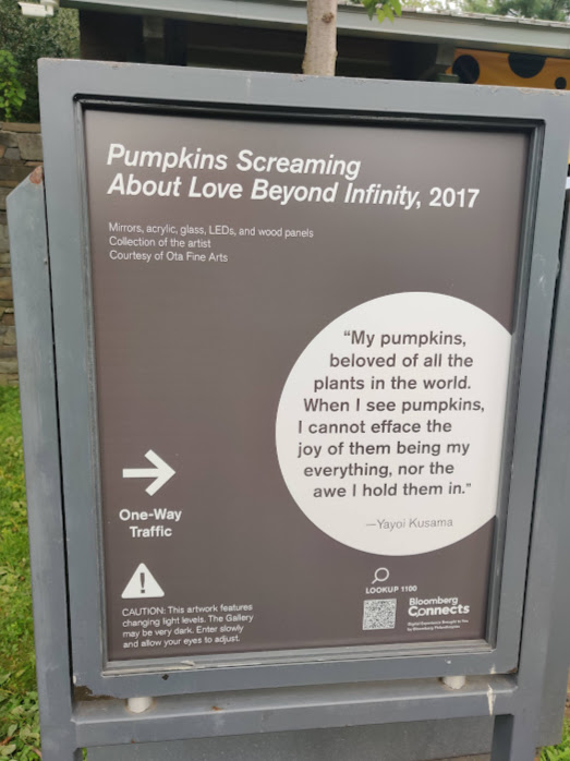 Text for Pumpkins Screaming About Love Beyond Infinity by Kusama