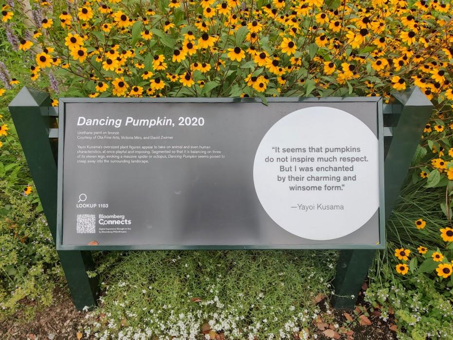 Dancing Pumpkin text at NYBG
