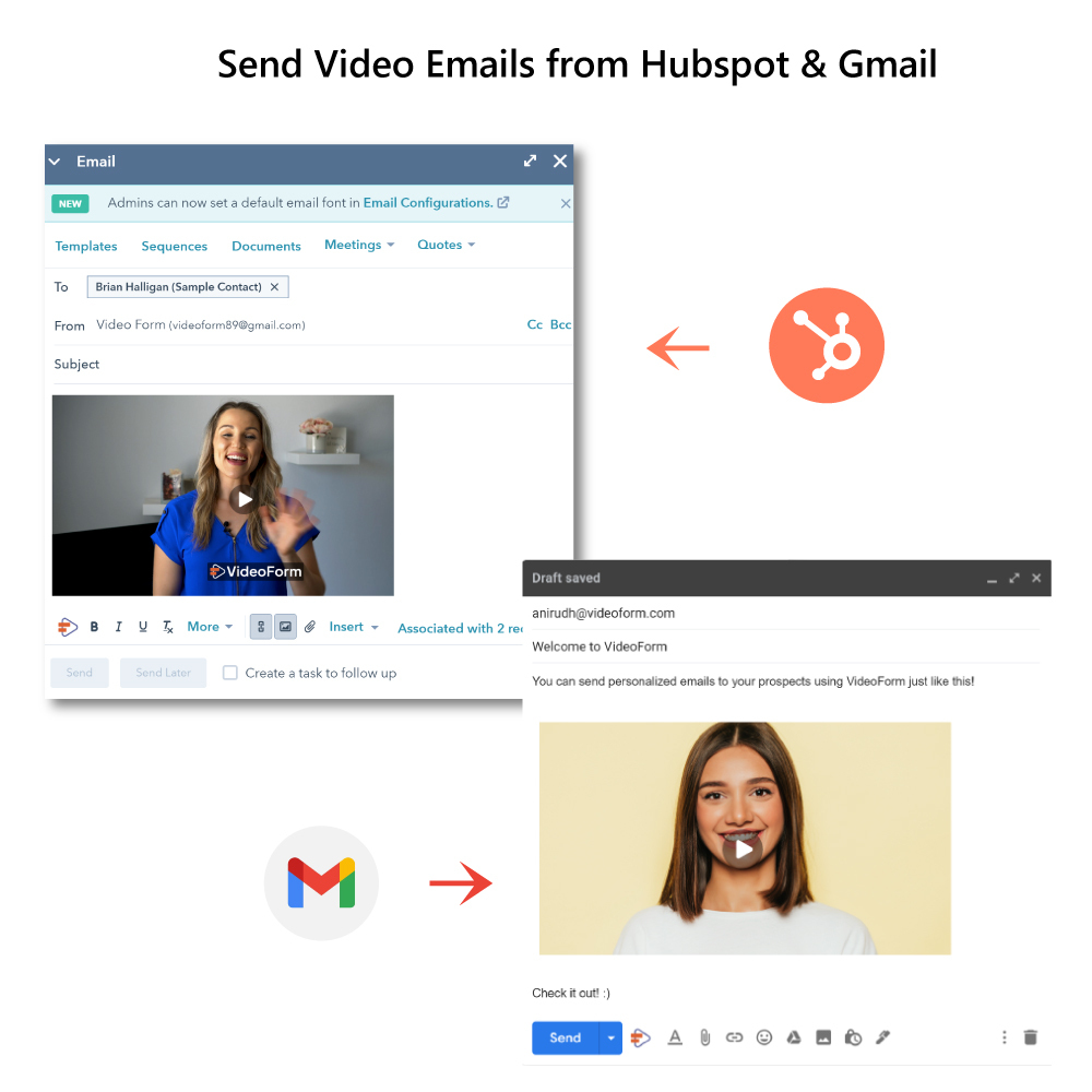 Send Video Emails from Gmail & Hubspot