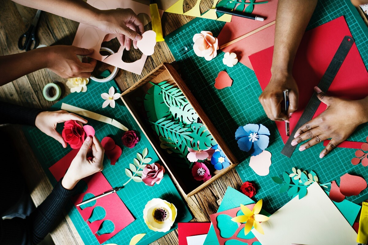 Image of people doing diy crafts and christmas gifts.