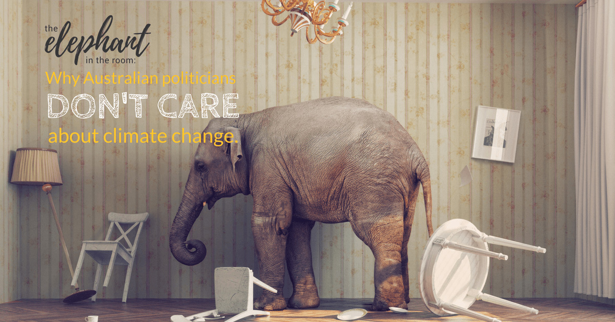 """Image of an elephant in a room with furniture bumped over with caption """"The Elephant in the room - Why austrailian politicians don't care about climate change."""""""
