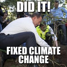 """Man planting tree with caption """"Did it! fixed climate change"""""""