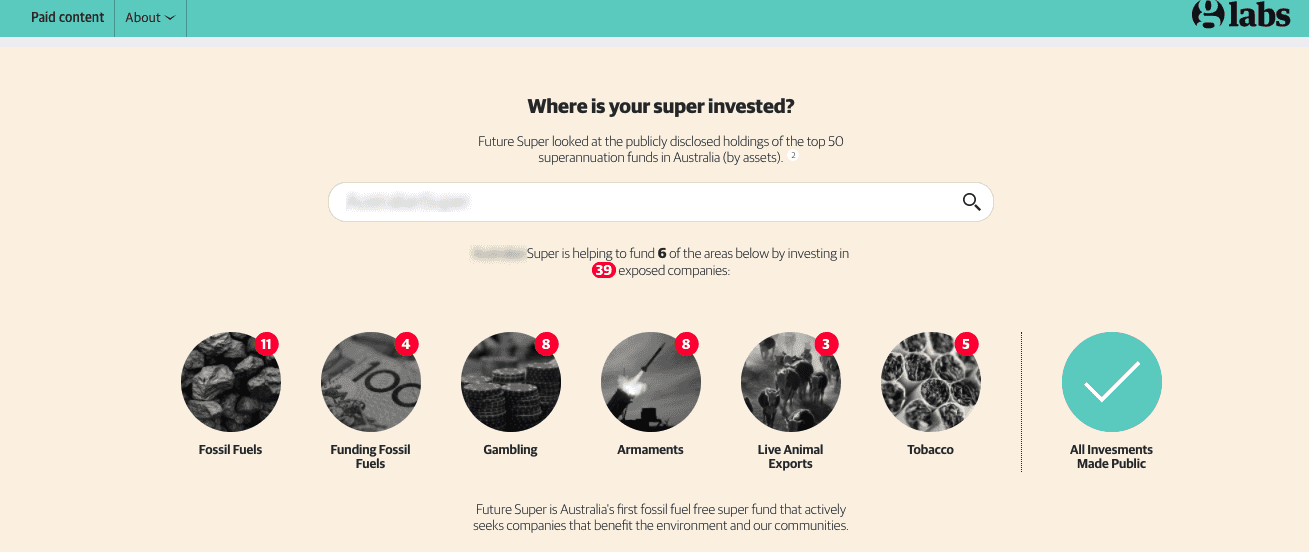 Images of Glabs with the headline - where is your super invested?