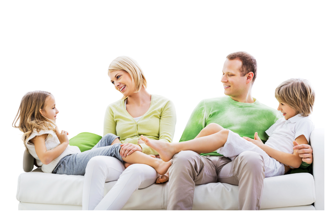 Family talking on sofa