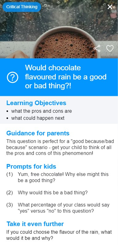 Conversation card from the KidCoachApp - would chocolate flavoured rain be good or bad?