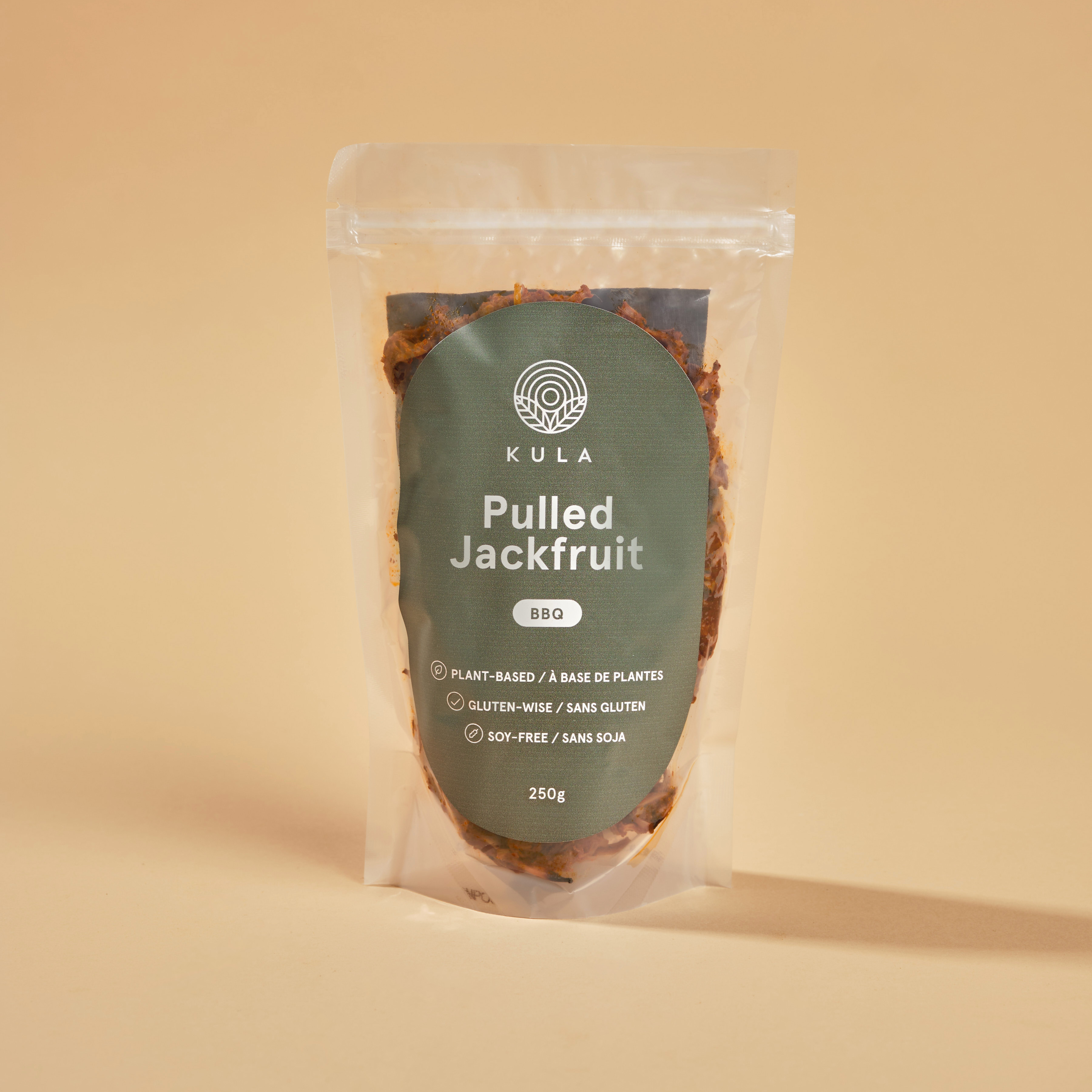 Transparent pouch packaging design made for Kula Kitchen's Pulled Jackfruit