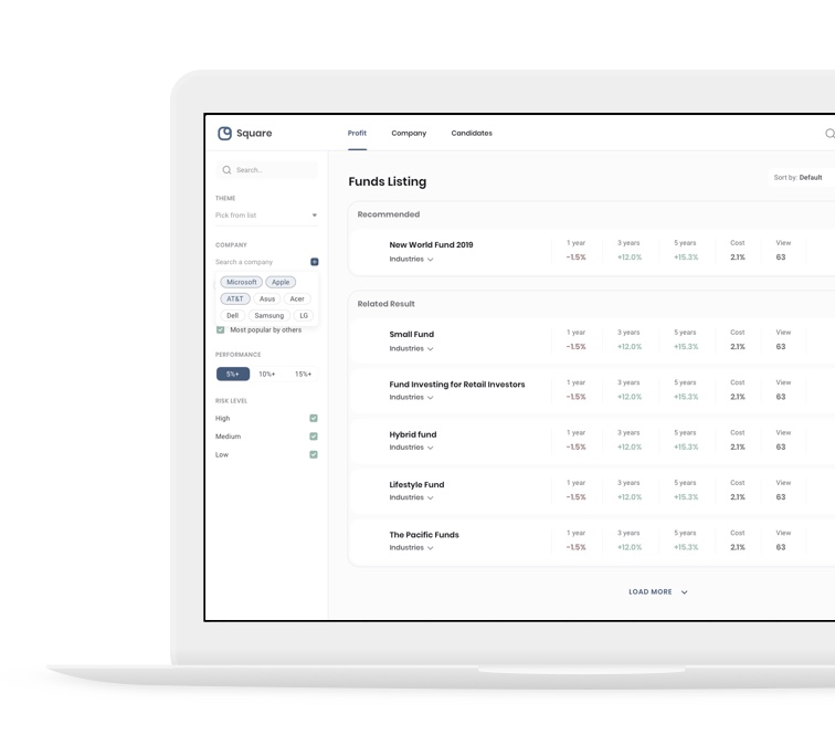 Square dashboard funds view