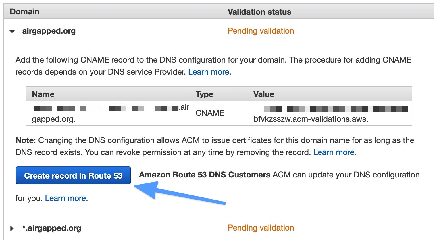 Domain Verification with Route53
