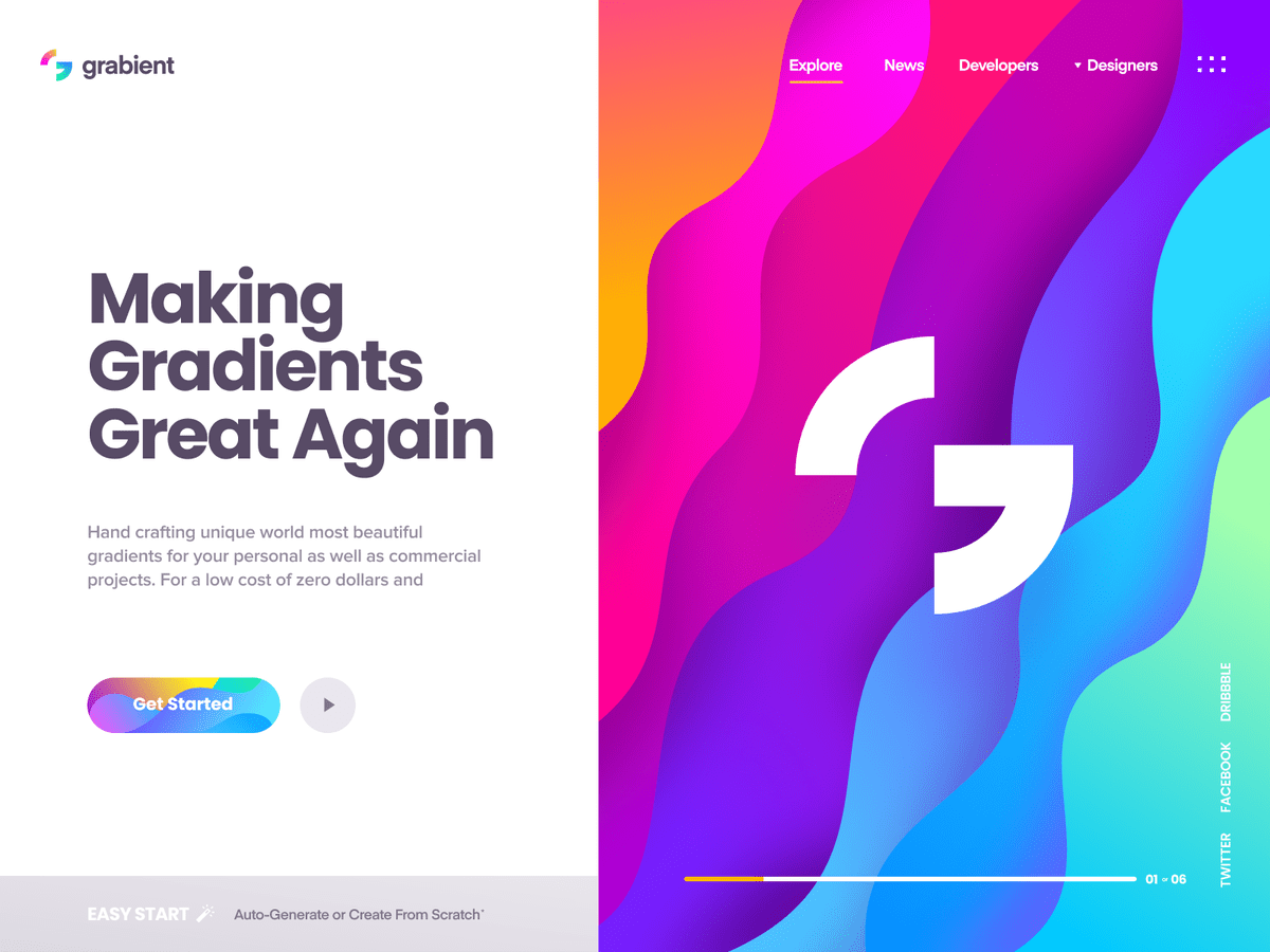 Colourful gradients on a screenshot which is one of the web design trends for 2020